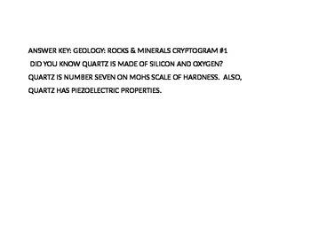 ROCKS & MINERALS CRYPTOGRAM 1: QUARTZ