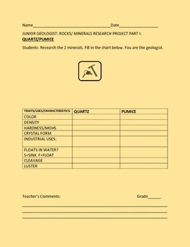 ROCKS & MINERALS RESEARCH PROJECT GRADES 4-8