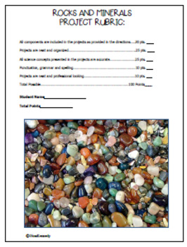 Rocks and Minerals Projects, Vocabulary Handout, Rock Guide