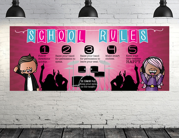 ROCKSTARS - Class Decor: LARGE BANNER, School Rules, Whole Brain Teaching Rule