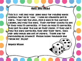 "ROLL AND READ /ow/ as in ""cow"""
