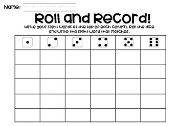ROLL AND RECORD WORD WORK GAME!