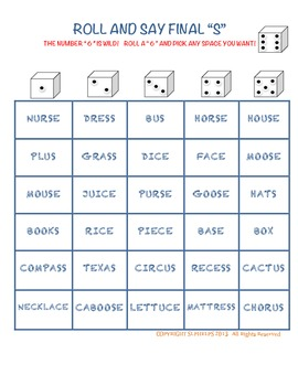 S ARTICULATION SPEECH SOUND DICE GAMES BUNDLE