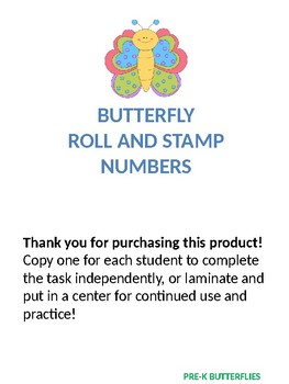 ROLL AND STAMP NUMBERS (BUTTERFLY THEME)