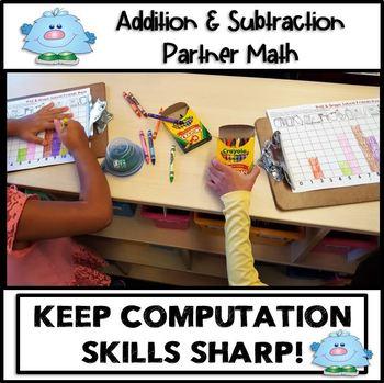 ROLL & GRAPH 4 SEASONS BUNDLE MATH CENTERS  Addition - Subtraction Partner Math