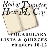 ROLL OF THUNDER, HEAR MY CRY Vocabulary List and Quiz (cha