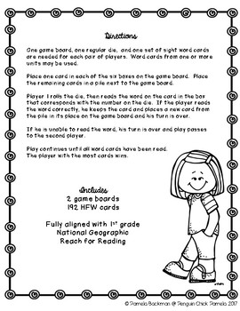 1st Grade ROLL SAY KEEP Reach for Reading High Frequency Word Game