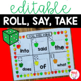 ROLL SAY TAKE Editable ELA or MATH Center Back to School