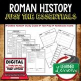ROMAN HISTORY Outline Notes, Rome Bullet Notes, Unit Review, Test Prep
