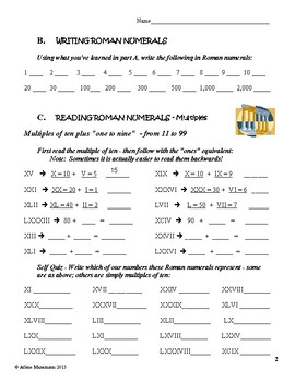 ROMAN NUMERALS Lessons Worksheets Quizzes