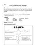 ROMEO AND JULIET CHARACTER ANALYSIS PROJECT