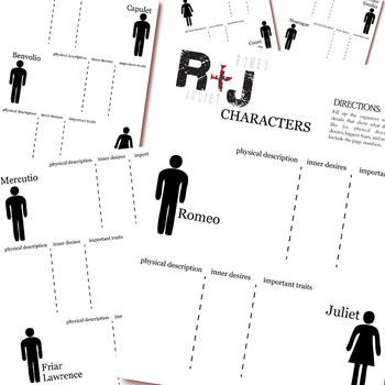 ROMEO AND JULIET Characters Organizer (by Shakespeare)