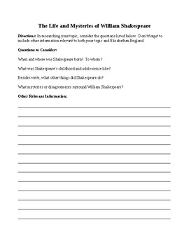 ROMEO AND JULIET HISTORICAL RESEARCH INTRO ACTIVITY