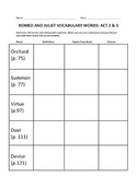 ROMEO AND JULIET NO FEAR SHAKESPEARE VOCABULARY CHARTS