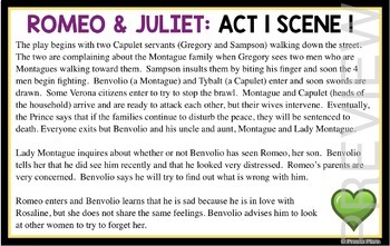 ROMEO AND JULIET SUMMARY CARDS