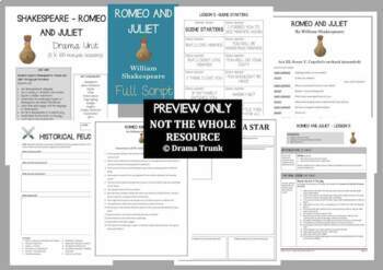 ROMEO AND JULIET Shakespeare Drama Unit (5 x 100 min lessons) - NO PREP!