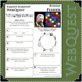RONALD FISHER Science WebQuest Scientist Research Project Biography Notes