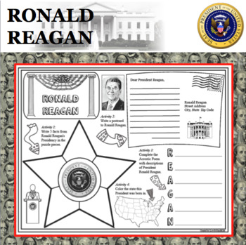 RONALD REAGAN POSTER U.S. President Research Project Biography