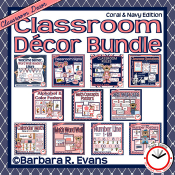ROOM DECOR BUNDLE: Coral & Navy Edition
