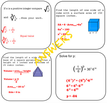 Smartboard Math Lessons and Activities ROOTS -8.EE.2