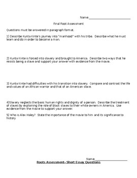 ROOTS NOVEL STUDY FINAL ASSESSMENT GRADE 7 8 9