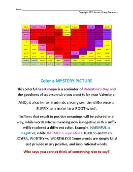 ROOTS & SUFFIXES: Color a Mystery Picture