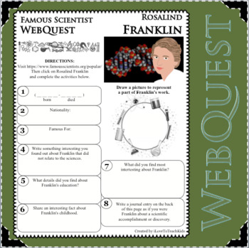ROSALIND FRANKLIN Science WebQuest Scientist Research Project Biography Notes