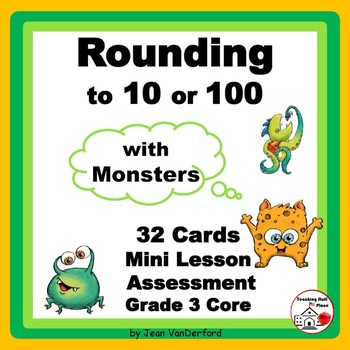 ROUNDING | NUMBERS to 100 | REVIEW Task Cards | MONSTERS | Gr 2-3 MATH