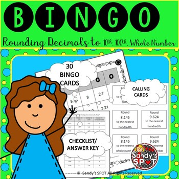 ROUNDING BINGO DECIMALS ROUNDED TO 10th, 100th, WHOLE NUMBER