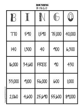 ROUNDING BINGO:  To the nearest 10, 100, 1,000, & 10,000