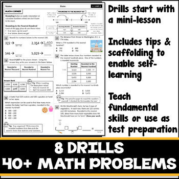 ROUNDING TO THE NEAREST 10, 100, 1000 & DOLLAR UNIT! Skills Practice Worksheets