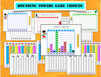 ROUNDING TOWERS GAME for 10s, 100s, 1,000s with Number Lines, and More
