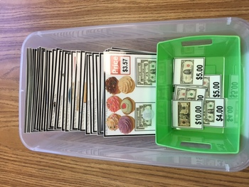 """ROUNDING UP To Nearest DOLLAR Task Cards """"Task Box Filler"""" for Special Education"""