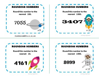 ROUNDING NUMBERS to 1000 | REVIEW | Task Cards | SPACE THEME | Gr 3-4 MATH CORE