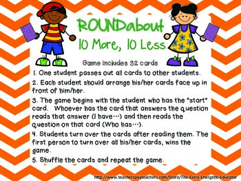 ROUNDabout Math Game Series:  10 More, 10 Less