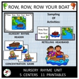 ROW ROW ROW YOUR BOAT NURSERY RHYME CENTERS FOR EMERGENT READERS