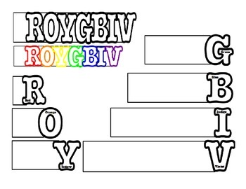 ROY G BIV Visible Light Spectrum Word Book