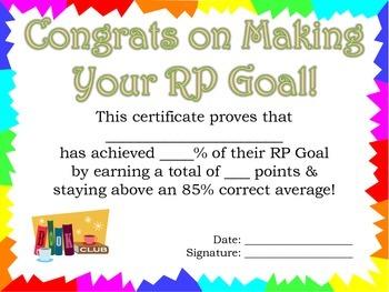 RP Goal Certificate
