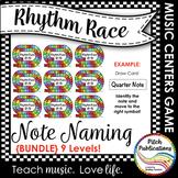 Music Centers: Rhythm Race Note Naming Edition {BUNDLE} Levels B, 1-8