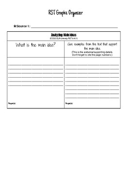 RST (Research Simulation Task) Graphic Organizer