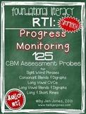 RTI: 125 CBM's for Progress Monitoring Literacy Interventions {Set 2}