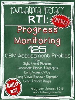 RTI: 125 CBM's for Progress Monitoring Literacy Interventi