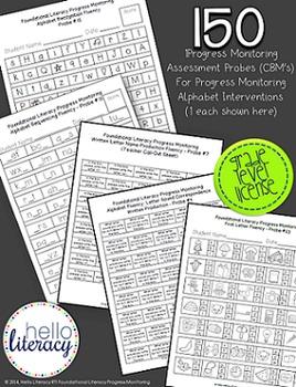 RTI: 150 CBM Assessments for Progress Monitoring Alphabet Interventions