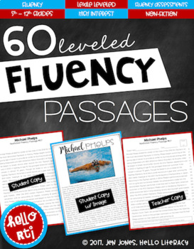 RTI: 60 Fluency Passages for Progress Monitoring Comprehension 5th-12th Grades