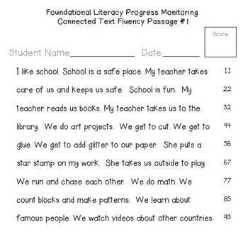 Worksheets Reading Fluency Worksheets rti 60 fluency passages fo by hello literacy teachers pay for progress monitoring reading skills interventions