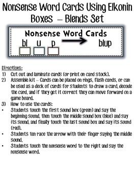 RTI Blends and Digraphs Nonsense Word Elkonin Box Cards
