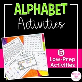 Alphabet Worksheets and Center Activities (Low-Prep)