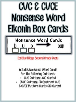 RTI CVC and CVCE Nonsense Word Elkonin Box Cards