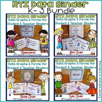 RTI Data Tracking Forms Binders for Teachers and Students: K-3 Bundle