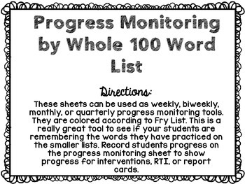 RTI: Fry Sight Word Progress Monitoring Pack